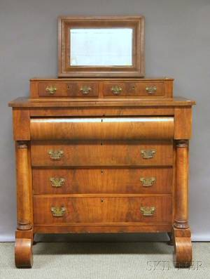 Empire Mahogany and Mahogany Veneer Bureau and Ogee Mirror