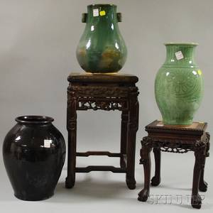 Three Assorted Asian Glazed Ceramic Vases and Two Small Chinese Export Carved Hardwood Stands