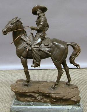 Henry Bonnard Bronze Co Bronze Cowboy on Horseback Sculpture