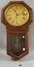 Ingraham Pressed Oak Wall Clock