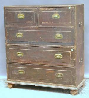 British Colonial Brassmounted Hardwood Dovetailconstructed Twopart Fivedrawer Campaign Chest