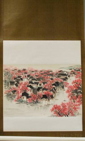 Chinese Ink and Watercolor on Paper Hanging Scroll Depicting a Spring View of a Village