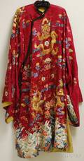 Chinese Dragon and Waves Embroidered Red Silk Robe