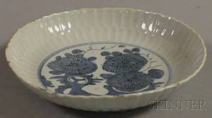 Blue and White Chinese Porcelain Plate with Scalloped Rim