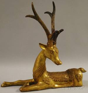 Bronze Figure of a Recumbent Deer