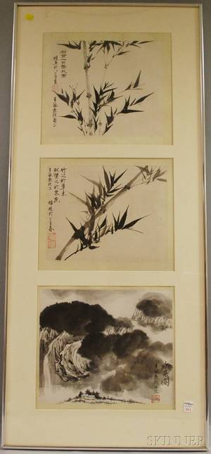 Three Chinese Paintings in a Common Frame and a Large Framed Print