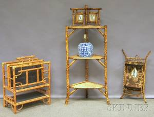 Three Pieces of Victorian and Victorianstyle Bamboo Furniture and Chinese Blue and White Porcelain Jar