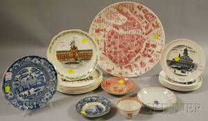 Seventeen Pieces of Transferdecorated Ceramic Tableware and a Chinese Export Porcelain Cup and Saucer