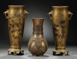 Pair of Gilt metal Vases and an Archaic style Vase