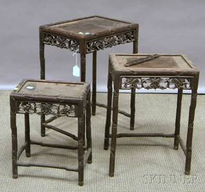 Set of Three Chinese Export Carved Hardwood Stands