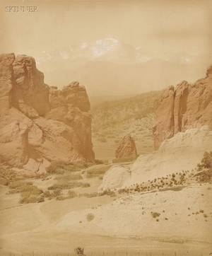 William Henry Jackson American 18431942 Two Images Pikes Peak from the Garden of the Gods