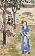 Maurice Brazil Prendergast American 18581924 Doublesided Sketchbook Page Figures Beneath Trees at the Shore