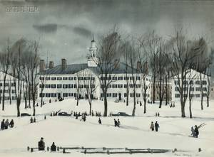 Paul Starrett Sample American 18961974 Dartmouth Hall in Winter
