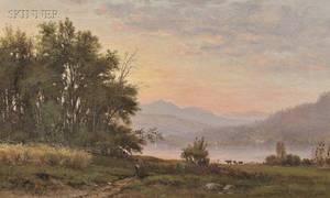 George Frank Higgins American b 1850 Lake View at Sunset