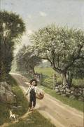 William T Robinson American 18521934 Fisherboy on a Country Path in Spring