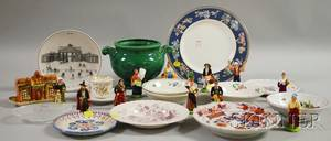Wooden Box of French Porcelain Figures and an Assortment of Pottery and Glass