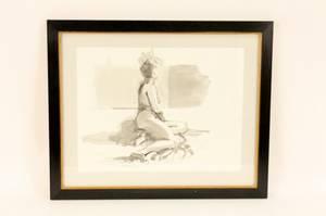 Ink Wash Figural Female Nude Signed