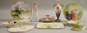 Ten European Floral and Scenic Handpainted and Transferdecorated Porcelain Items