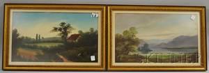 Two Late 19thEarly 20th Century American School Oil on Panels Depicting a Mountain Lake Landscape and a Landscape with Cottage