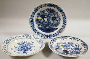 Three Dutch Delft Blue and White Floraldecorated Chargers
