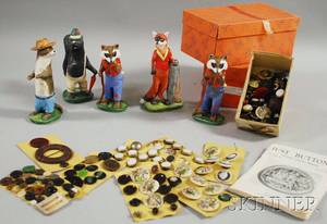 Small Group of Fancy Buttons and Five Collectible Goebel Ceramic Figures