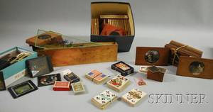 Collection of Magic Lantern Glass Slides and Eleven Sets of 19th and 20th Century Playing Cards