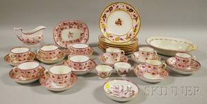 Assembled Group of Pink Luster Strawberry Pattern Teaware and Porcelain Table Items