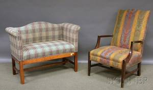 Federalstyle Paisley Upholstered Mahogany Lolling Chair and a Chippendalestyle Upholstered Camelback Maple Bench