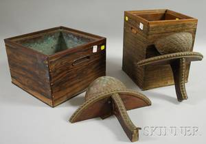 Two Japanese Copperlined Wood Planters and a Pair of Molded Copper and Wood Wall Brackets