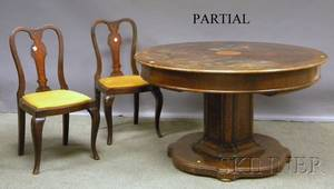 Queen Annestyle Inlaid and Burl Veneer Oak Pedestalbase Dining Table with Four Side Chairs
