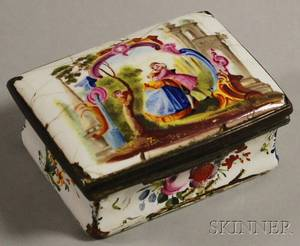 Small French Enamel Lidded Box