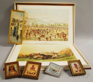 Portfolio After Catlin and Five Framed Miniature Paintings