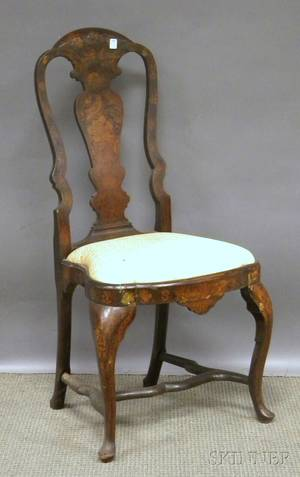 Dutch Rococo Marquetrydecorated Carved Wood Side Chair with Upholstered Slipseat