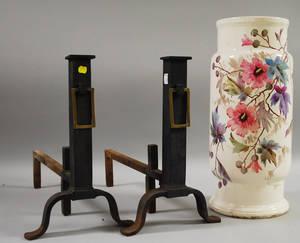 Pair of Bradley  Hubbard Arts  Crafts Cast Iron Columnar Andirons and a German Handpainted Ceramic Umbrella Stand