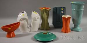 Seven Midcentury Modern Glazed Ceramic Vases