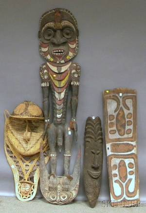 Four Papua New Guinea Basketry and Carved Wood Masks and Sculptures