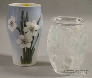 Lalique Frosted Colorless Molded Birddecorated Art Glass Vase and a Royal Copenhagen Daffodildecorated Porcelain Vase