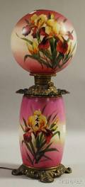 Late Victorian Handpainted Irisdecorated Glass and Cast Metal GonewiththeWind Kerosene Table Lamp