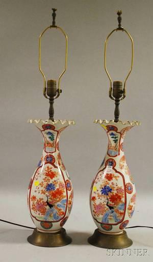 Pair of Japanese Kutani Porcelain VaseTable Lamps