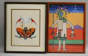 Two Framed 20th Century Native American Works TT Honvantewa Ahola Dawn