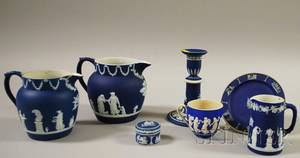 Six Wedgwood Dark Blue Jasper Dip Items and a Copeland Jasper Cup