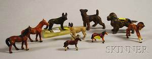 Nine Assorted Small Painted Cast Iron Bronze and Other Metal Dog and Horse Figures