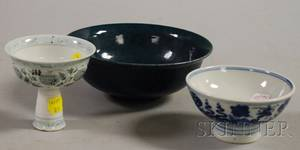 Chinese Blue Glazed Porcelain Bowl and Two Blue and White Decorated Porcelain Footed Bowls