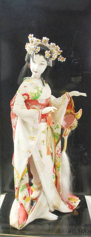 Japanese Costume Doll in a Glass Display Case on Stand