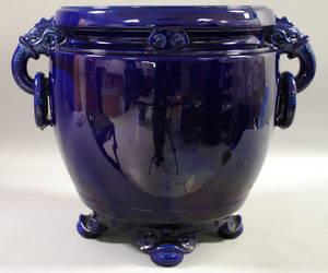 Large Cobalt Blue Glazed Ceramic Footed Jardiniere