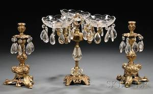 Brass and Glass Candelabra and Threedish Centerpiece