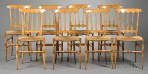 Eight Biedermeier Fruitwood Rush Seat Side Chairs