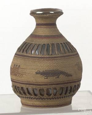 Northwest Coast Tlingit basket covered bottle