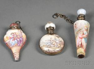 Three Small Continental Silvermounted Enamel Scent Flasks