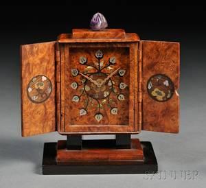 Black Starr  Frost Art Deco Inlaid Burlwood Boudoir Timepiece
